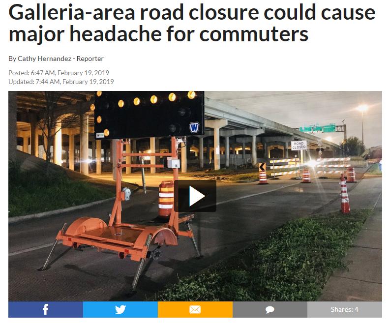 又要封路了...休斯顿Galleria地区59号高速辅路将封路三周!